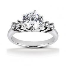 14k White Gold Diamond Accented Engagement Ring Containing 0.3 Carats Of Diamonds In Hi Color And Si1-si2 Clarity