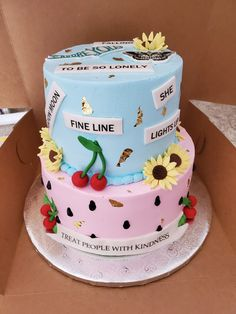 Bolos One Direction, One Direction Birthday, One Direction Cakes, Harry Styles Birthday, Harry Birthday, Picnic Birthday, 18th Birthday Party, Pretty Birthday Cakes, Pretty Cakes