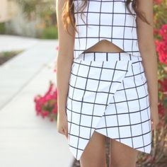 How to make a zara inspired top and asymetrical skirt + How to make a gridded design on any fabric.