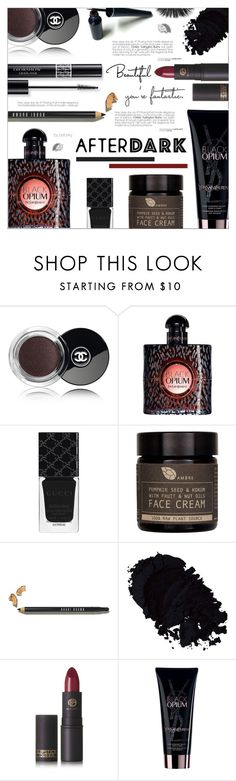 """""""Beauty After Dark"""" by befunky ❤ liked on Polyvore featuring beauty, Chanel, Christian Dior, Yves Saint Laurent, Gucci, AMBRE, Bobbi Brown Cosmetics, Lipstick Queen, polyvorecommunity and afterdark"""
