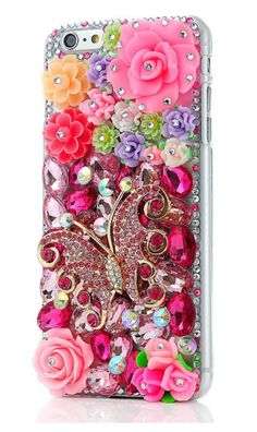 """Flower Butterfly Rhinestone Case Handmade Bling Hard Protective Case Cover For iPhone 6 Plus 5.5"""" """" FREE SHIPPING """" --Fits for Apple iPhone 6 Plus --Protects your device from scratches and bumps. --Al"""