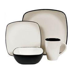 dishware sets | Corelle Hearthstone Stoneware Square 16-Piece Dinnerware Set, Service ...