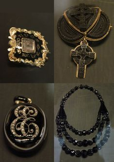 1860-1880 Victorian Mourning Jewelry - After Albert's death in 1861, Queen Victoria mandated mourning jewelry at court until 1880. Much was made out of jet, a fossilized wood, which is essentially a version of coal.