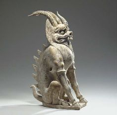 A LARGE PAINTED GREY POTTERY FIGURE OF AN EARTH SPIRIT -Bixie - or chimera  TANG DYNASTY (618-907)