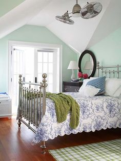 Flea Market Chic Home Accents Bedroom Green, Dream Bedroom, Home Bedroom, Bedroom Decor, Pretty Bedroom, Master Bedroom, Airy Bedroom, Feminine Bedroom, White Bedrooms