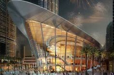 Dubai Opera by Atkins opens with Placido Domingo (Dubai, United Arab Emirates, 2016). The 2,000 seat Dubai Opera is set to be the centrepiece of the new Opera District at the heart of Downtown Dubai, close to the Burj Khalifa.