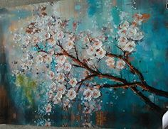 Handpainted Modern Abstract Flower Canvas Art Decoration of Oil Painting Wall…