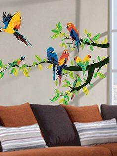 WS036 Parrots and Branch Large Wall Decal - 19 Stickers