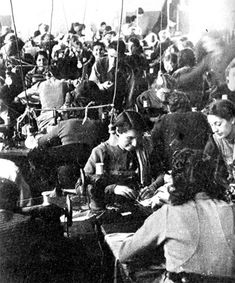 Forced labor in the Lodz Ghetto. Jewish women in a lingerie factory