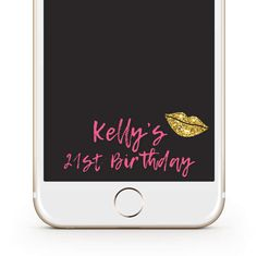 Snapchat Geofilter - Bachelorette Filter - Birthday Filter - Gold Glitter Lips Snapchat Filter by LeahDawnCreations on Etsy