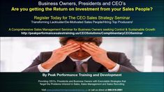 (7) CEO Sales Seminar:Transforming Lackluster/De-Motivated Sales People/Hiring Top Producers! - YouTube https://www.youtube.com/watch?v=tNaTx3qMNIY&t=110s