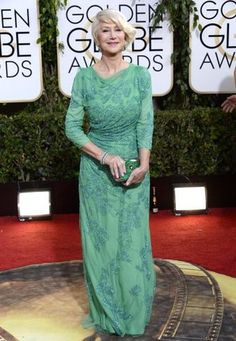 Oh, Helen Mirren you are looking oh so fine in this sweet, minty floor length sparkly number!  Not only appropriate for her age, but I could see any age wearing this gown-the green hue and draping is stunning!  ||  Modest Fashions at the Golden Globes: Helen Mirren wears Jenny Packham  #modestishottest