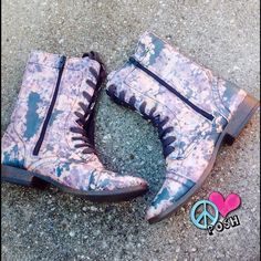 Girly Combat Boots  Mossimo Supply Co  Cute Girly Girl Combat Boots     Size 9.5  Pink wth purple & green Cammo ! Lace-up with Zipper Sides  Good Preloved Condition with minor wear✌️  NO TRADE Mossimo Supply Co Shoes Combat & Moto Boots