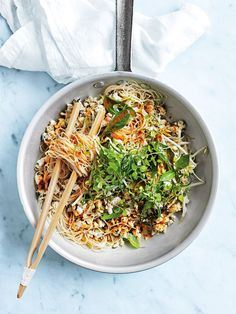 lemongrass fish larb noodles with chilli dressing from donna hay magazine summer issue #85