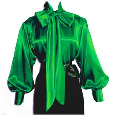 EMERALD GREEN Shiny LIQUID SATIN High Neck BOW BLOUSE vtg top S M L 1X 2X 3X #tamarstreasures #Blouse #EveningOccasion