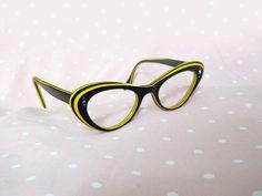 Cateye Glasses // 50s Black & Yellow Laminated Eyeglasses // Rockabilly // No Shipping Charges. $50.00, via Etsy.