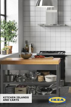 More countertop space, more storage space – who couldn't use a little more of both? IKEA kitchen islands and carts can give you the extra space you need without the expense of a remodel.