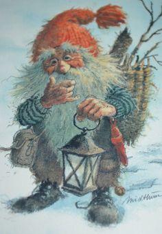 by Kjell Einar Midthun Christmas Pictures, Christmas Art, Vintage Christmas, Norwegian Christmas, Kobold, Scandinavian Folk Art, Elves And Fairies, Fairy Art, Vintage Postcards