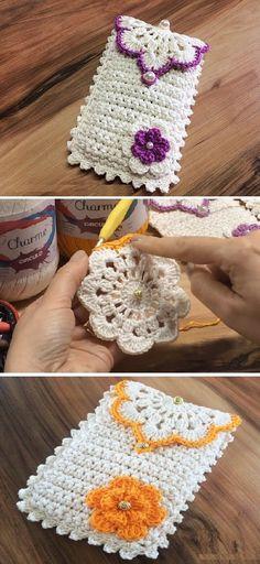 Crochet Phone Bobble Stitch Handbag Crochet Pattern with Video Tutorial Crochet Phone Cover, Crochet Case, Bag Crochet, Crochet Purses, Crochet Gifts, Cute Crochet, Crochet Hooks, Crochet Clutch, Crochet Purse Patterns
