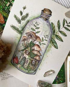 Indie Drawings, Cool Art Drawings, Art Drawings Sketches, Fairy Drawings, Drawing Ideas, Pretty Art, Cute Art, Mushroom Art, Mushroom Drawing