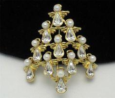 Vintage Signed BW Angel Christmas Tree Brooch Pin Rhinestone BK PC | eBay