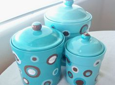 Handpainted Pottery Canister Set.