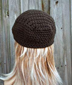 Dark Chocolate Brown Crochet Golf Hat Womens or Mens by pixiebell