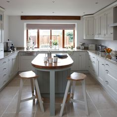 White and wood Shaker-style kitchen