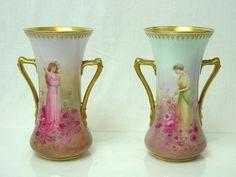 Antique Royal Doulton Porcelain 2 Vases Art Nouveau Hand Painted Artur Leslie   eBay