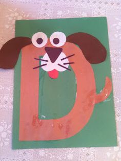 letters, kindergarten, preschool, alphabet craft, d dog craft, alphabet animals, d is for dog