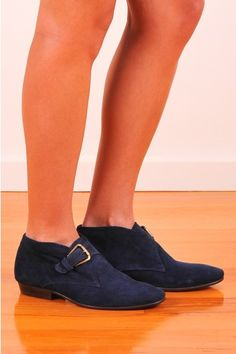 Cute as a button ankle boots in blue suede by The Horse, made from high quality leather that will retain that real stable fresh smell
