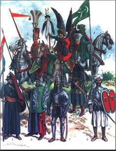 Ottoman Troops: 1: Cavalryman with Tuğ;  2: Sipahi;  3: Janissary cavalryman;  4: Cavalryman with the banner of Hayreddin Barbarossa;  5: Light infantryman;  6: Deli cavalryman;  7: Heavy Sipahi trooper;  8: Maghrebi Arab with Adarga shield