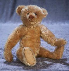 Early German mohair teddy bear by Steiff with blank button in ear 800/1100