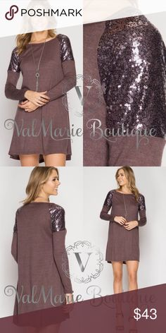 Cocoa Plum Sequin Shoulder Dress STUNNING COCOA PLUM LONG SLEEVE HACCI SWING DRESS WITH SEQUIN SHOULDERS. SOOO INSANELY SOFT AND COMFORTABLE. 65%COTTON 35%RAYON. FITS TTS S(2-4) M(6-8) L(10-12) ValMarie Dresses