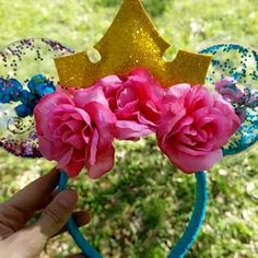Clear Minnie Ears exclusively from Clearly Magic on Instagram. Aurora Sleeping Beauty Make It Pink Make It Blue ears for Walt Disney World. Custom Orders available