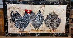Art Biz Susan Downey Wymola: Rooster and Hens Folk Art on Wood Original Art