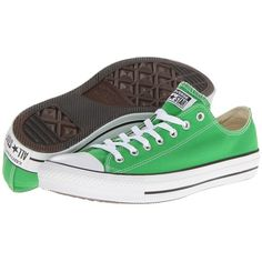 Converse Chuck Taylor® All Star® Seasonal Ox ($40) ❤ liked on Polyvore featuring shoes, sneakers, converse, jungle green, sneakers & athletic shoes, lace up sneakers, metallic shoes, metallic sneakers, converse trainers and metallic lace up shoes