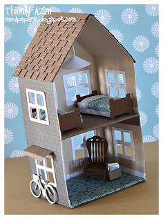 Sweet little paper doll house - domeček pro panenky - Doll House Cardboard Dollhouse, Cardboard Box Crafts, Diy Dollhouse, Dollhouse Furniture, Dollhouse Miniatures, Doll House Cardboard, Homemade Dollhouse, Victorian Dollhouse, Modern Dollhouse