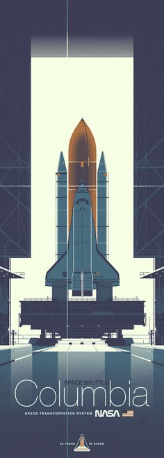 """mechaddiction: """"One of two prints from artist Kevin Dart's Space Shuttle series celebrating the Challenger and Columbia. These two incredible shuttles and their crews completed 36 successful missions and spent over 300 days in space. Some highlights. Motion Design, Desenho Pop Art, The Farm, Comics Illustration, Science Illustration, Graphic Illustration, Plakat Design, Poster Art, To Infinity And Beyond"""