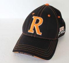 Rocket Football Baseball Cap Hat Orange Black Small Medium Flex #BaseballCap