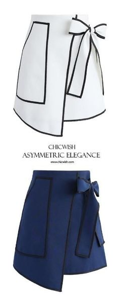 Urban Vogue Flap Skirt in White and Navy www.chicwish.com by jannie