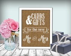 Cards & Gifts Wedding Sign Burlap Printable 8x10 by justforkeeps, $10.00