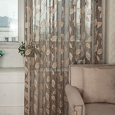 "Norbi Willow Voile Tulle Room Window Curtain Sheer Voile Panel Drapes Curtain 39.4'' x 78.8"" L (Gray 2)"