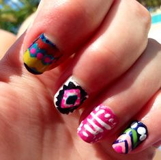Vacation Nails for Dominican Rep./ Aztec Theme (other hand; each nails different)