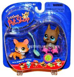 Littlest Pet Shop LPS 183 184 PAIRS GRAY GREAT DANE TAN WELSH CORGI Pink Skates