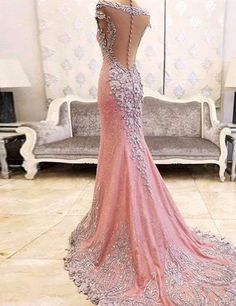 Mermaid Crew Neck Cap Sleeves Sweep Train Blush Prom Dress with Beading Lace Sheer Back