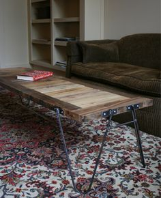 Rebar and wood coffee table, I like the inlay a different color as the frame