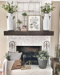fireplace is the focal attraction of the room? Thus, in this somber and cold winter, you can light up the day with a nice fireplace mantel decoration. Farmhouse Side Table, Farmhouse Decor, Modern Farmhouse, Farmhouse Style, Country Decor, Farmhouse Interior, Country Homes, French Farmhouse, Farmhouse Design