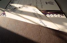 woodgrain pocketfold invitation