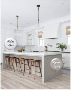Two-toned painted cabinets in the kitchen are a hot trend that is here to stay! Here are some timeless paint color combos to consider for your kitchen to break up an all white kitchen. White and pebble gray kitchen cabinets. #cabinetpaintcolors #paintcolorideas #kitchenpaintcolor #cabinetcolors #coloredcabinets #twotonedcabinets #porchdaydreamer #paintcombosa Kitchen Cabinets Color Combination, Classic Kitchen Cabinets, Kitchen Cabinet Colors, Kitchen Redo, Kitchen Ideas, Kitchen Makeovers, Kitchen Color Design, Kitchen Cabinets With Island, Warm Kitchen Colors